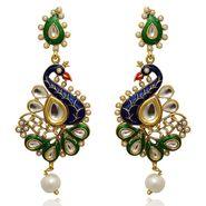 Kriaa Kundan Meenakari Peacock Finish Earrings _1305402