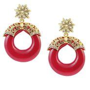 Kriaa Austrian Stone Resin Circle Finish Earrings _1305710