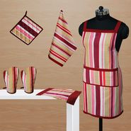 Dekor World Maroon Stripe Apron Combo. Set of 6 Pcs