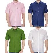Pack of 4 Fizzaro Plain Linen Casual Shirts_Fz102356