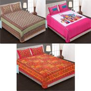 Set of 3 Jaipuri Cotton Double King Size Bedsheets With 6 Pillow Covers -100C8