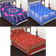 Set of 3 Jaipuri Cotton Double Bedsheets With 6 Pillow Covers -90C4