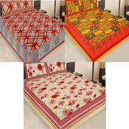 Set of 3 Jaipuri Cotton Double King Size Bedsheets With 6 Pillow Covers -108C10