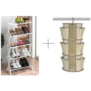 Buy 5 Tier Foldable Stainless Steel Shoe Rack With Hanging Shoe Rack - 5TRWHGSR