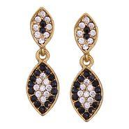 Vendee Fashion Austrian Diamond Leafy Design Earrings - Black _ 8608D