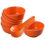 12 Pc Rnd Soup Bowl W/Spoon Set - Orange