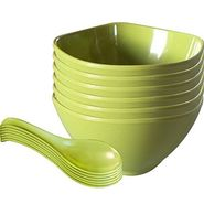12 Pc Sq Rnd Soup Bowl W/Spoon Set - Green