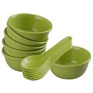 12 Pc Urmi Soup Bowl W/Spoon Set - Green