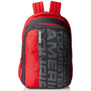 American Tourister Polyester Red & Grey Backpack -A01
