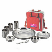 Aristo Raninbow Touch Lunch/Dinner Set with Traveling Bag - Silver
