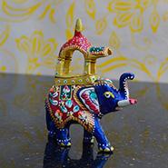 eCraftIndia Meenakari Metal Ambabari Elephant - MultiColor