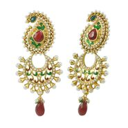 Aakshi Pearl Peacock Meenakari Jhumka Dangle Earrings - Golden - AKS_ER_PPMJ