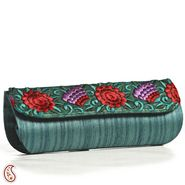 Aapno Rajasthan Raw Silk Clutches-Teal Green