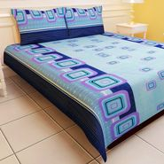 Carah Exclusive Blue Colour Double Bedsheet With Two Pillow Covers (CRH-DB115).