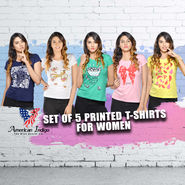 American Indigo Set of 5 Printed T-shirts for Women