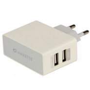 Amkette USB Wall Charger-Dual Port-FDD678 - White