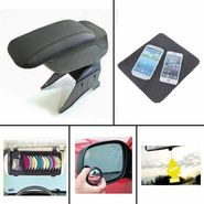 Combo of Car Armrest Console-Black Universal, DVD Holder, Freshner, Blind Spot Mirror and Non-Slip Dash