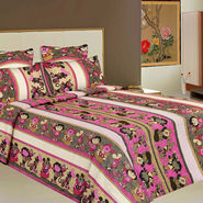 Bazar Villa Cotton King Size Double Bed Sheet with 2 Pillow Cover - Multicolor- RCA2126