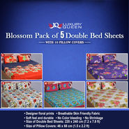 Blossom Pack of 5 Double Bedsheets with 10 Pillow Covers (5BS5)