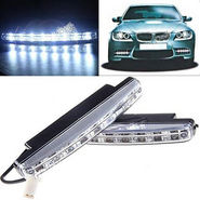 Branded Car Daytime Running 8 LED Light Super Bright - White
