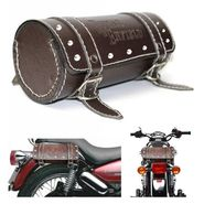 AutoStark Bike Leatherette Back Seat Carry Saddle Bag Brown All Royal Enfield Bike