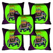 Set of 5 meSleep Digitally Printed Ambari Elephant Cushion Cover-CD-08-064-05