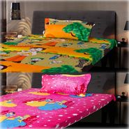 Set of 2 Chota Bheem and Beautiful Princess Kids Single Bedsheet with 2 Pillow Cover-CHFSBD103
