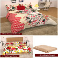 Storyathome Combo Of 1 Pc Cotton Double Bedsheet With 2 Pillow Cover, 2 Single Dohar/AC Micro Fiber Quilt , 1 Pc Cotton Bath Towel-CN_1227-FB_2-1210S-TW1218-X