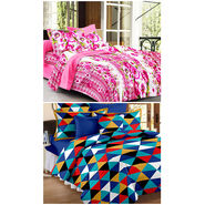 Set Of 2 Double Bedsheet With 4 Pillow Cover-CN_1246-PL1101
