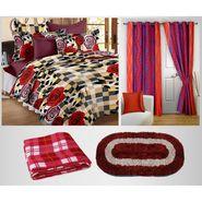 Storyathome 100% Cotton 1 Double Bedsheet Set,2 Pc Door Curtain,1 Pc Blanket & 1 Pc Door mat Combo-DNR3021