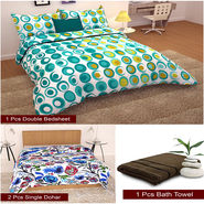 Storyathome Combo Of 1 Pc Cotton Double Bedsheet With 2 Pillow Cover, 2 Single Dohar/AC Micro Fiber Quilt , 1 Pc Cotton Bath Towel-CN_1261-FB_2-1220S-TW1208-X