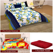 Storyathome Combo Of 1 Pc Cotton Double Bedsheet With 2 Pillow Cover, 2 Single Dohar/AC Micro Fiber Quilt , 1 Pc Cotton Bath Towel-CN_1407-FB_2-1227S-TW1215-X