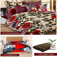 Storyathome Combo Of 1 Pc Cotton Double Bedsheet With 2 Pillow Cover, 2 Single Dohar/AC Micro Fiber Quilt , 1 Pc Cotton Bath Towel-CN_1431-FB_2-1226S-TW1215-X