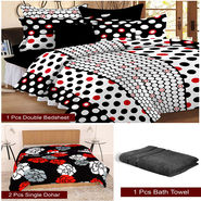 Storyathome Combo Of 1 Pc Cotton Double Bedsheet With 2 Pillow Cover, 2 Single Dohar/AC Micro Fiber Quilt , 1 Pc Cotton Bath Towel-CN_1433-FB_2-1222S-TW1207-X