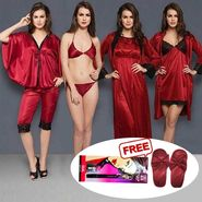 Set Of 8 Clovia Satin Solid Nightwear_NSM292P09
