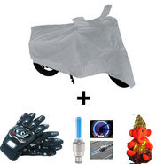 Combo of Bike Body Cover + ProBiker Gloves + Flash Wheel Lights + Hanging Ganesha for Honda Dream Yuga COMBOBKSilver-HONDA17