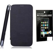 Combo of Camphor Flip Cover (Black) + Screen Guard for Nokia 502
