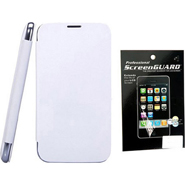 Combo of Camphor Flip Cover (White) + Screen Guard for Micromax A35