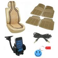 Combo of Car Seat Wooden Bead + Footmats + Mobile Holder + Aux Wire