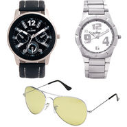 Combo of Dezine 2 Analog Watches + 1 Aviator Sunglasses_DZ-CMB110