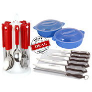 Combo of Elegante Tablecraft Cutlery Set + Knife Set with Cutting Board + Microwave Safe Bowl