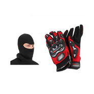 Combo of Pro biker bike gloves - Red+ Face balaclava
