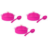 Carnation BPA free Microwavable 9Pcs Casserole Set - Hot Pink