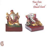 Miniature Enamelled Metal Hand Painted Ganesh Murti Set