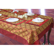 Pack of 5 Dekor World Table Cover With Mats - Maroon & Rust DWTC-013_4