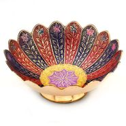 Little India Pure Brass Minakari Work Fruit Bowl Handicraft 209