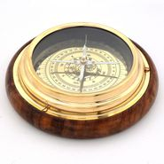Little India Wood n Brass Real Nautical Compass Handicraft 215