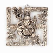 Little India Antique White Metal Swastik Ganesha Hanging 313