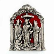 Little India Antique Lord Ram Darbar Idol in White Metal 360