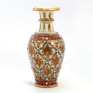 Little India Jaipuri Gold Painting Meenakari Marble Flower Vase 372